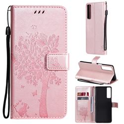 Embossing Butterfly Tree Leather Wallet Case for LG Stylo 7 5G - Rose Pink