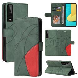 Luxury Two-color Stitching Leather Wallet Case Cover for LG Stylo 7 5G - Green