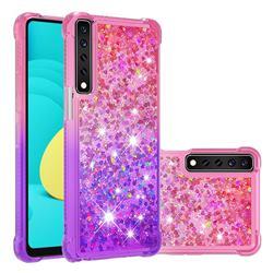 Rainbow Gradient Liquid Glitter Quicksand Sequins Phone Case for LG Stylo 7 4G - Pink Purple