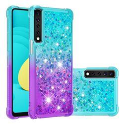 Rainbow Gradient Liquid Glitter Quicksand Sequins Phone Case for LG Stylo 7 4G - Blue Purple