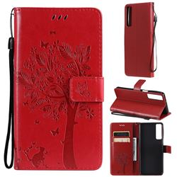 Embossing Butterfly Tree Leather Wallet Case for LG Stylo 7 4G - Red
