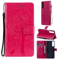 Embossing Butterfly Tree Leather Wallet Case for LG Stylo 7 4G - Rose