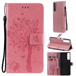 Embossing Butterfly Tree Leather Wallet Case for LG Stylo 7 4G - Pink