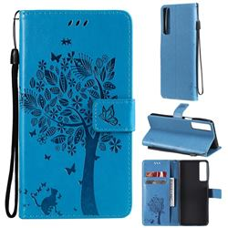 Embossing Butterfly Tree Leather Wallet Case for LG Stylo 7 4G - Blue