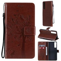 Embossing Butterfly Tree Leather Wallet Case for LG Stylo 7 4G - Coffee