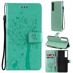 Embossing Butterfly Tree Leather Wallet Case for LG Stylo 7 4G - Cyan