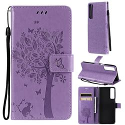 Embossing Butterfly Tree Leather Wallet Case for LG Stylo 7 4G - Violet