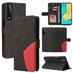 Luxury Two-color Stitching Leather Wallet Case Cover for LG Stylo 7 4G - Black