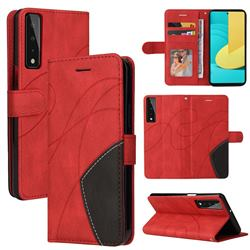 Luxury Two-color Stitching Leather Wallet Case Cover for LG Stylo 7 4G - Red