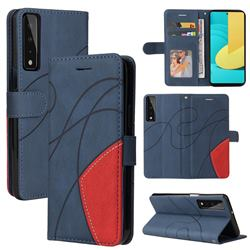 Luxury Two-color Stitching Leather Wallet Case Cover for LG Stylo 7 4G - Blue