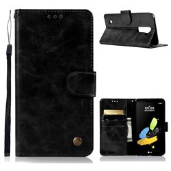 Luxury Retro Leather Wallet Case for LG Stylo 2 LS775 Criket - Black