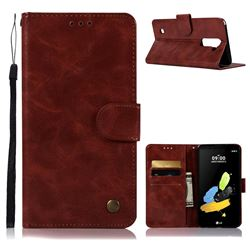 Luxury Retro Leather Wallet Case for LG Stylo 2 LS775 Criket - Wine Red