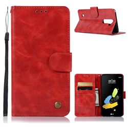 Luxury Retro Leather Wallet Case for LG Stylo 2 LS775 Criket - Red