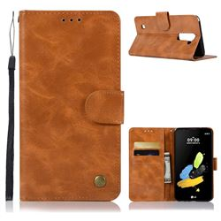Luxury Retro Leather Wallet Case for LG Stylo 2 LS775 Criket - Golden