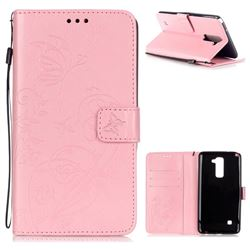 Embossing Butterfly Flower Leather Wallet Case for LG Stylo 2 LS775 Criket - Pink