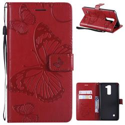 Embossing 3D Butterfly Leather Wallet Case for LG Stylo 2 LS775 Criket - Red