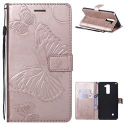 Embossing 3D Butterfly Leather Wallet Case for LG Stylo 2 LS775 Criket - Rose Gold