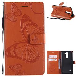 Embossing 3D Butterfly Leather Wallet Case for LG Stylo 2 LS775 Criket - Orange