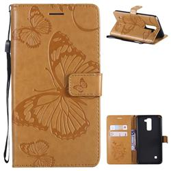 Embossing 3D Butterfly Leather Wallet Case for LG Stylo 2 LS775 Criket - Yellow