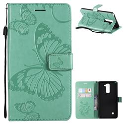 Embossing 3D Butterfly Leather Wallet Case for LG Stylo 2 LS775 Criket - Green