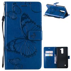 Embossing 3D Butterfly Leather Wallet Case for LG Stylo 2 LS775 Criket - Blue