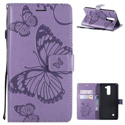 Embossing 3D Butterfly Leather Wallet Case for LG Stylo 2 LS775 Criket - Purple