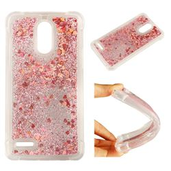 Dynamic Liquid Glitter Sand Quicksand Star TPU Case for LG Stylus 3 Stylo3 K10 Pro LS777 M400DK - Diamond Rose