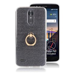 Luxury Soft TPU Glitter Back Ring Cover with 360 Rotate Finger Holder Buckle for LG Stylus 3 Stylo3 K10 Pro LS777 M400DK - Black