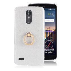 Luxury Soft TPU Glitter Back Ring Cover with 360 Rotate Finger Holder Buckle for LG Stylus 3 Stylo3 K10 Pro LS777 M400DK - White