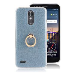 Luxury Soft TPU Glitter Back Ring Cover with 360 Rotate Finger Holder Buckle for LG Stylus 3 Stylo3 K10 Pro LS777 M400DK - Blue