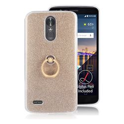 Luxury Soft TPU Glitter Back Ring Cover with 360 Rotate Finger Holder Buckle for LG Stylus 3 Stylo3 K10 Pro LS777 M400DK - Golden