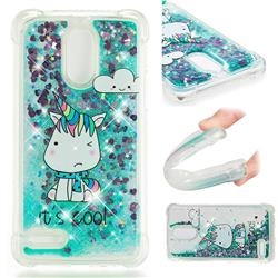 Tiny Unicorn Dynamic Liquid Glitter Sand Quicksand Star TPU Case for LG Stylus 3 Stylo3 K10 Pro LS777 M400DK