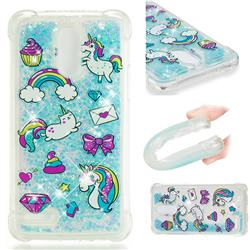 Fashion Unicorn Dynamic Liquid Glitter Sand Quicksand Star TPU Case for LG Stylus 3 Stylo3 K10 Pro LS777 M400DK