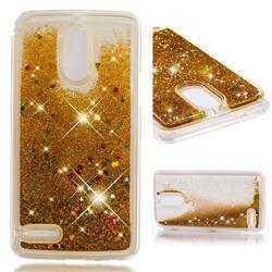 Dynamic Liquid Glitter Quicksand Sequins TPU Phone Case for LG Stylus 3 Stylo3 K10 Pro LS777 M400DK - Golden