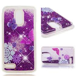Purple Flower Butterfly Dynamic Liquid Glitter Quicksand Soft TPU Case for LG Stylus 3 Stylo3 K10 Pro LS777 M400DK