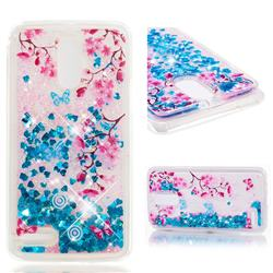 Blue Plum Blossom Dynamic Liquid Glitter Quicksand Soft TPU Case for LG Stylus 3 Stylo3 K10 Pro LS777 M400DK