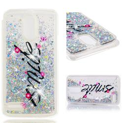 Smile Flower Dynamic Liquid Glitter Quicksand Soft TPU Case for LG Stylus 3 Stylo3 K10 Pro LS777 M400DK