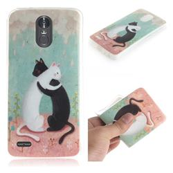 Black and White Cat IMD Soft TPU Cell Phone Back Cover for LG Stylus 3 Stylo3 K10 Pro LS777 M400DK