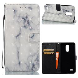 White Gray Marble 3D Painted Leather Wallet Case for LG Stylus 3 Stylo3 K10 Pro LS777 M400DK