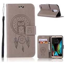 Intricate Embossing Owl Campanula Leather Wallet Case for LG Stylus 3 Stylo3 K10 Pro LS777 M400DK - Grey