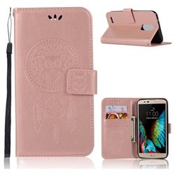 Intricate Embossing Owl Campanula Leather Wallet Case for LG Stylus 3 Stylo3 K10 Pro LS777 M400DK - Rose Gold
