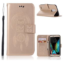 Intricate Embossing Owl Campanula Leather Wallet Case for LG Stylus 3 Stylo3 K10 Pro LS777 M400DK - Champagne