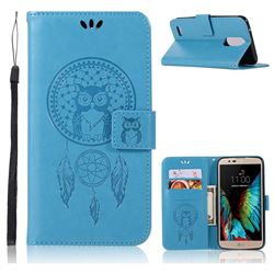 Intricate Embossing Owl Campanula Leather Wallet Case for LG Stylus 3 Stylo3 K10 Pro LS777 M400DK - Blue