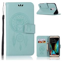 Intricate Embossing Owl Campanula Leather Wallet Case for LG Stylus 3 Stylo3 K10 Pro LS777 M400DK - Green