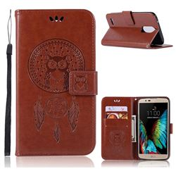 Intricate Embossing Owl Campanula Leather Wallet Case for LG Stylus 3 Stylo3 K10 Pro LS777 M400DK - Brown