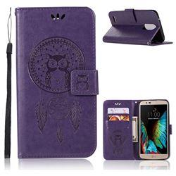 Intricate Embossing Owl Campanula Leather Wallet Case for LG Stylus 3 Stylo3 K10 Pro LS777 M400DK - Purple