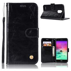 Luxury Retro Leather Wallet Case for LG Stylus 3 Stylo3 K10 Pro LS777 M400DK - Black