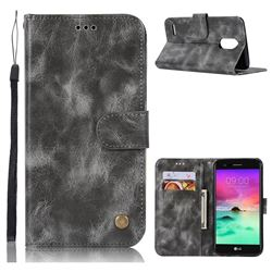 Luxury Retro Leather Wallet Case for LG Stylus 3 Stylo3 K10 Pro LS777 M400DK - Gray