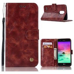 Luxury Retro Leather Wallet Case for LG Stylus 3 Stylo3 K10 Pro LS777 M400DK - Wine Red