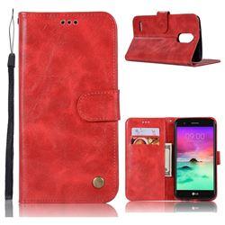 Luxury Retro Leather Wallet Case for LG Stylus 3 Stylo3 K10 Pro LS777 M400DK - Red